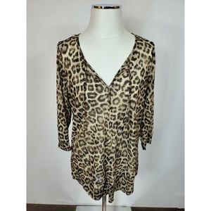 Chico's 3/4 Sleeve Animal Print Top Size 1 Medium